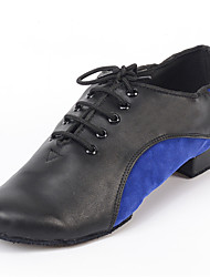 Customizable Men's Dance Shoes Tap Leatherette / Flocking Chunky Heel Blue / Red