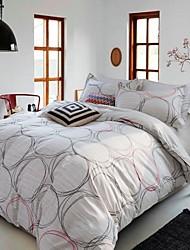 100% Cotton Queen Size Twill Flat Sheet + Duvet Cover + Pillow Shams Bedding Set