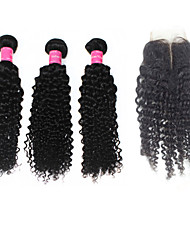 "Virgin Indian Human Hair Weave 12""-30"" Deep Curly With Virgin Remy 4*4Inch Lace Closure 10""-20"" 1B Human Hair"