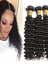 "3pcs/Lot 8""-30"" Mix Size Color #1B Peruvian Wave Virgin Human Hair Extensions Bundles Thick & Soft"