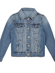 Retro Pockets Long Sleeve Girls Denim Coat