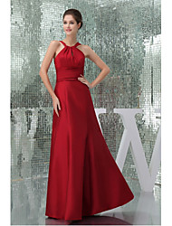 Formal Evening Dress A-line Halter Floor-length Taffeta with Draping