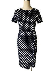 Women's Party / Plus Size Vintage / Street chic A Line / Bodycon Dress,Polka Dot Round Neck Knee-length Short Sleeve Blue / White