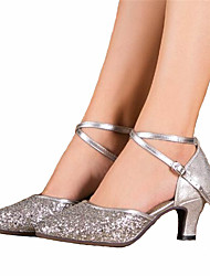 Women's Dance Shoes Latin Satin Chunky Heel Blue / Silver / Gold