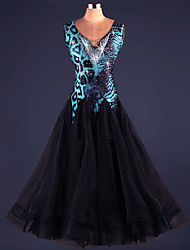 Ballroom Dance Dresses Women's Performance Spandex Draped 1 Piece Leopard Print Modern Dance