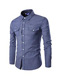 Shirts Classic (Semi-Spread) Long Sleeve Cotton Solid Dark Blue / Light Blue / Dark Gray