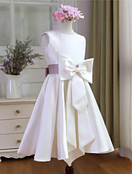 AMGAM A-line Knee-length Flower Girl Dress - Satin Scoop with Bow(s) Sash / Ribbon