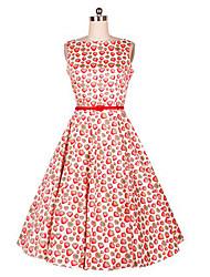 Women's Vintage Print A Line Dress,Round Neck Knee-length Cotton