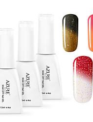 Azure 3 Pcs/Lot Nail Gel Polish Temperature Changing Color Soak Off  UV Gel Polish Kit(12ml,#25+#26+#27)