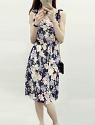 2016 Summer New Women Chiffon Sleeveless Floral Bohemian Beach Dress