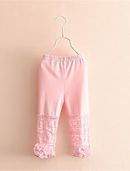 BK  Fashion Cute Girls Lace Bow Leggings Cropped Pants 2016 Summer Kids' Clothing