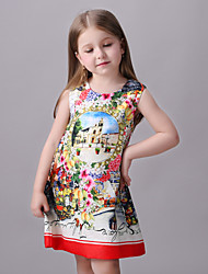Girl's Multi-color / Red / White Dress,Print Rayon Summer / Spring / Fall