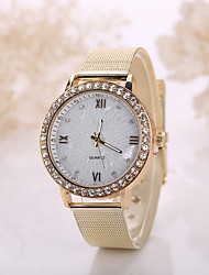 Women/Men White Crystal Case Steel Gold Band Watch Jewelry for Wedding Party