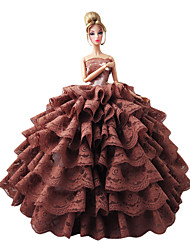 Barbie Doll Holiday Party Dress Ball Gown in Coffee