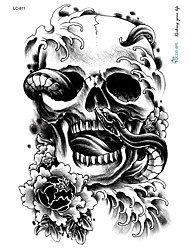 21*15cm Large Big Tattoo Sticker Halloween Horror Skull Black Designs Temporary Tattoo Skeleton Snake Flower