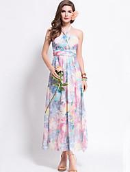 Women's Vintage / Boho Floral Halter Off Shoulder Backless Slim Sheath Dress,Halter Maxi
