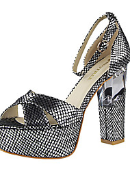 Women's Shoes Glitter Chunky Heel Heels / Peep Toe Sandals Casual Black / Red / Silver / Gray / Gold / Orange