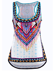 Women's Print White Tanks,U Neck Sleeveless