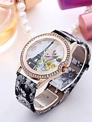 Mulheres Relógio de Moda Quartzo Couro Banda Preta Branco Roxa # 2 # 3 # 4 # 5 # 6