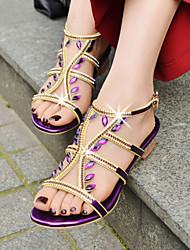 Women's Shoes Heel Heels / Peep Toe Sandals Party & Evening / Dress / Casual Purple / Silver / Gold/7036