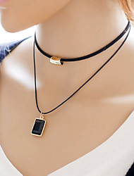 Necklace Choker Necklaces Jewelry Daily / Casual Double-layer Flannelette Black 1pc Gift