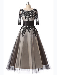 Formal Evening Dress-Black A-line Scoop Tea-length Lace