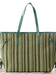 Women Straw Tote-Blue / Green