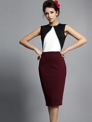 Baoyan® Women's Round Neck Sleeveless Knee-length Dress-14029