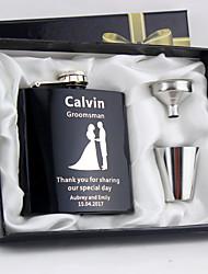 Mariée Marié Fille d'honneur Groom Couple Parents Cadeaux Pièce / Set Flasque Classique AmourMariage Célébration Anniversaire