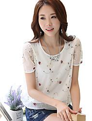 Women's Print White / Black Blouse,Round Neck Short Sleeve