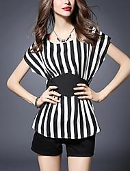 Ronde hals-Polyester-Racerback-Vrouwen-T-shirt-Korte mouw