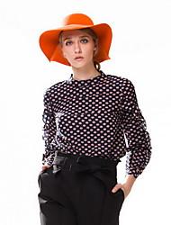 Goelia® Mujer Escote Chino Manga Larga Camisa y blusa Azul-161F3E160