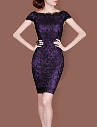 LIFVER® Women's Gorgeous Bateau Cap Sleeve Lace Bodycon Dress(purple)- G03