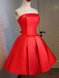Ball Gown Fit & Flare Strapless Knee Length Satin Stretch Satin Cocktail Party Dress with Sash / Ribbon Bandage by Luoge