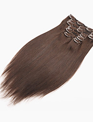 Full Head Clip in Human Hair Extensions Natural Black Hair 70g/7pcs Straight Virgin Brazilian Hair Clip in Extensions