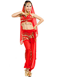 Belly Dance Outfits Women's Performance Chiffon Sequins 4 Pieces Fuchsia / Light Blue / Purple / Red / Yellow