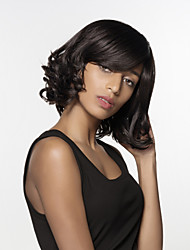 Graceful Medium Length  Wavy  Bob Remy Hand Tied Top wig for Woman's
