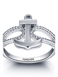 Fashion Personalized Promise 925 Sterling Silver Anchor Finger Ring For Women