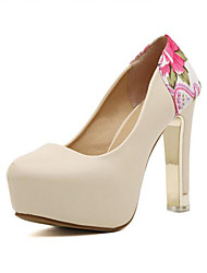 Women's Shoes Leatherette Chunky Heel Comfort Heels Outdoor Brown / White