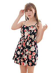 Women's Cute Floral A Line Dress,Strap Mini Polyester