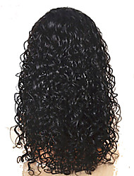 """18 """"pulgadas de color del pelo virginal brasileño (negro) de profundidad pelucas delanteras del cordón rizado"""