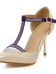 Women's Heels Leatherette Wedding / Dress / Casual / Party & Evening Stiletto Heel Pink / Purple / Beige