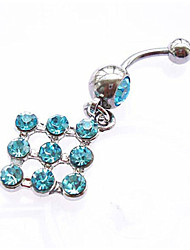 Femme Navel & Bell Button Rings Argent sterling / Zircon Blanc / Bleu / Incarnadin Bijoux,1pc