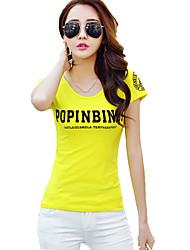 Damen Druck Einfach / Street Schick Ausgehen T-shirt,Rundhalsausschnitt Kurzarm Weiß / Gelb Baumwolle Dünn