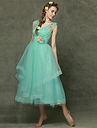 Tea-length Tulle Bridesmaid Dress - A-line Sweetheart with Flower(s)