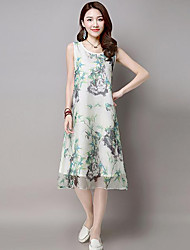 Women's Casual/Daily Vintage Sheath Dress,Print Round Neck Knee-length Sleeveless Green / Purple Linen Summer