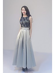 Formal Evening Dress - Color Block Ball Gown Jewel Ankle-length Lace Satin with Lace