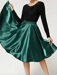 Women's Solid Red / Black / Green / Purple Skirts,Vintage / Boho Knee-length
