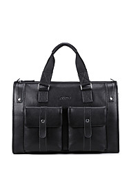 NAWO Men Cowhide Tote / Travel Bag Black-N653031M