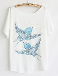 Damen Druck Street Schick Lässig/Alltäglich T-shirt,Rundhalsausschnitt Sommer Kurzarm Blau / Rosa / Weiß / Schwarz / Grün Baumwolle Dünn